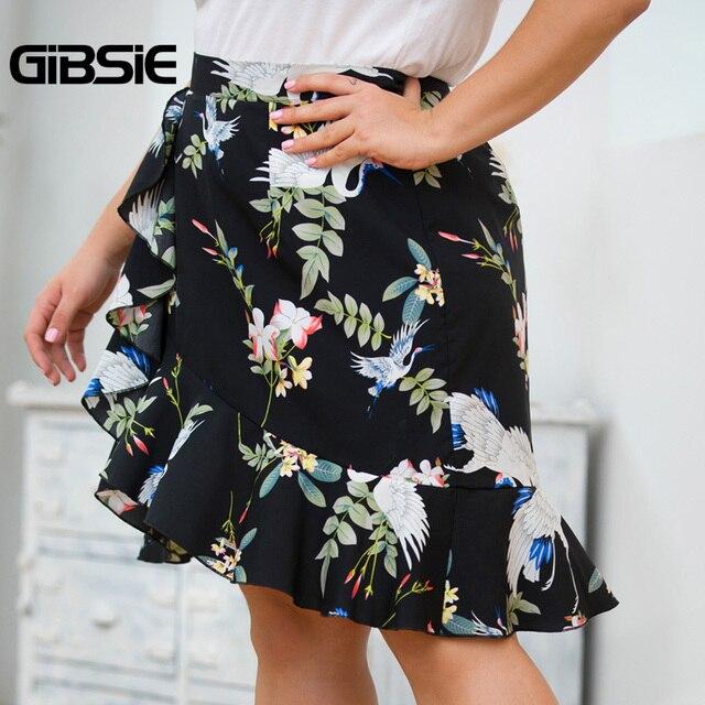 GIBSIE Plus Size Ladies Black Ruffle Trim Print A Line Skirts Womens High Waist Midi Skirt 2019 New Women Summer Elegant Skirt 1