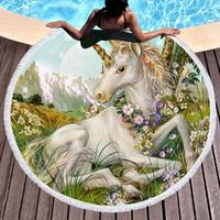 Beautiful Cartoon Unicorn Round Beach Towel Tassel Tapestry Yoga Mat Blanket Microfiber Swimming Bath Towel Diameter 150cm