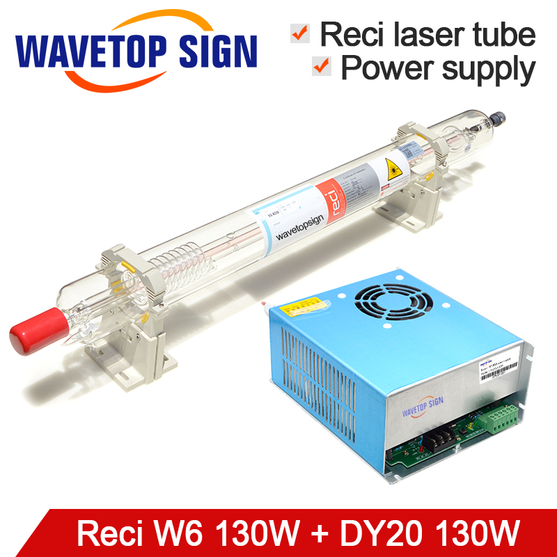 RECI Laser Tube W6 130W Length 1650mm Dia.80mm + Laser Power Supply DY20 CO2 Laser Tube For Laser Engraving Cutting Machine