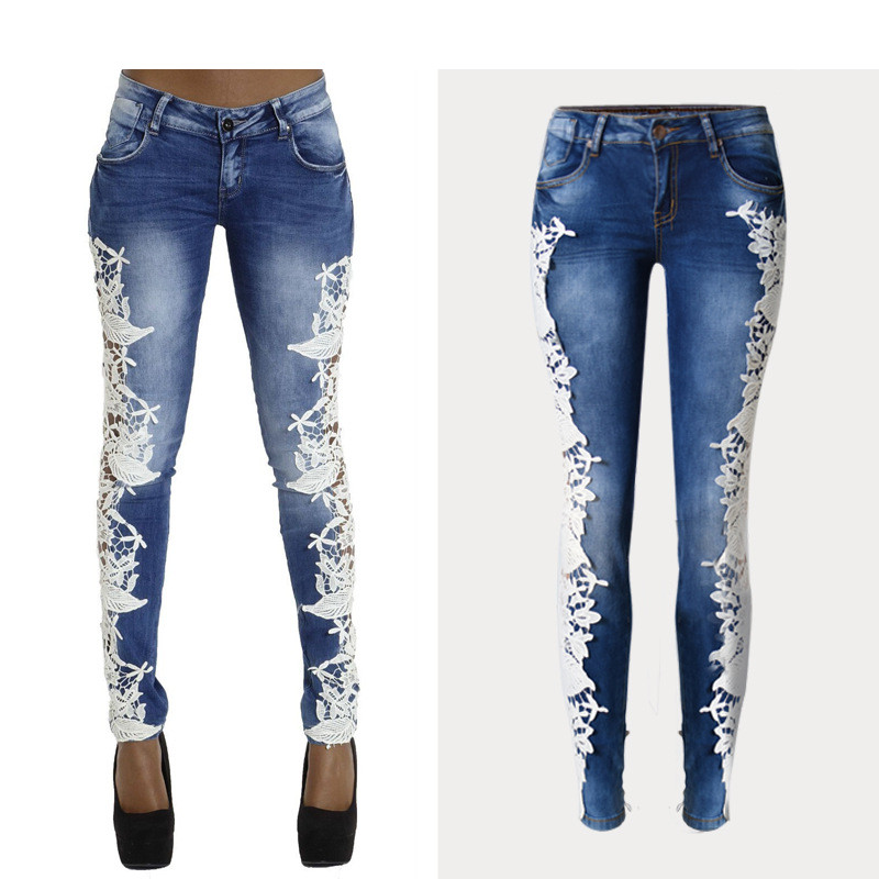 Mid-Waist Jeans With Lace Hollow Out Stitching Fashion full-Length Stretchable Tights Skinny Denim Sexy Date Femme Women Jeans