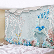 Cartoon Forest Elk Landscape Tapestry Boho Mandala Wall Hanging Royal Blue 3D Hippie Home Decor Mint Yoga Mat