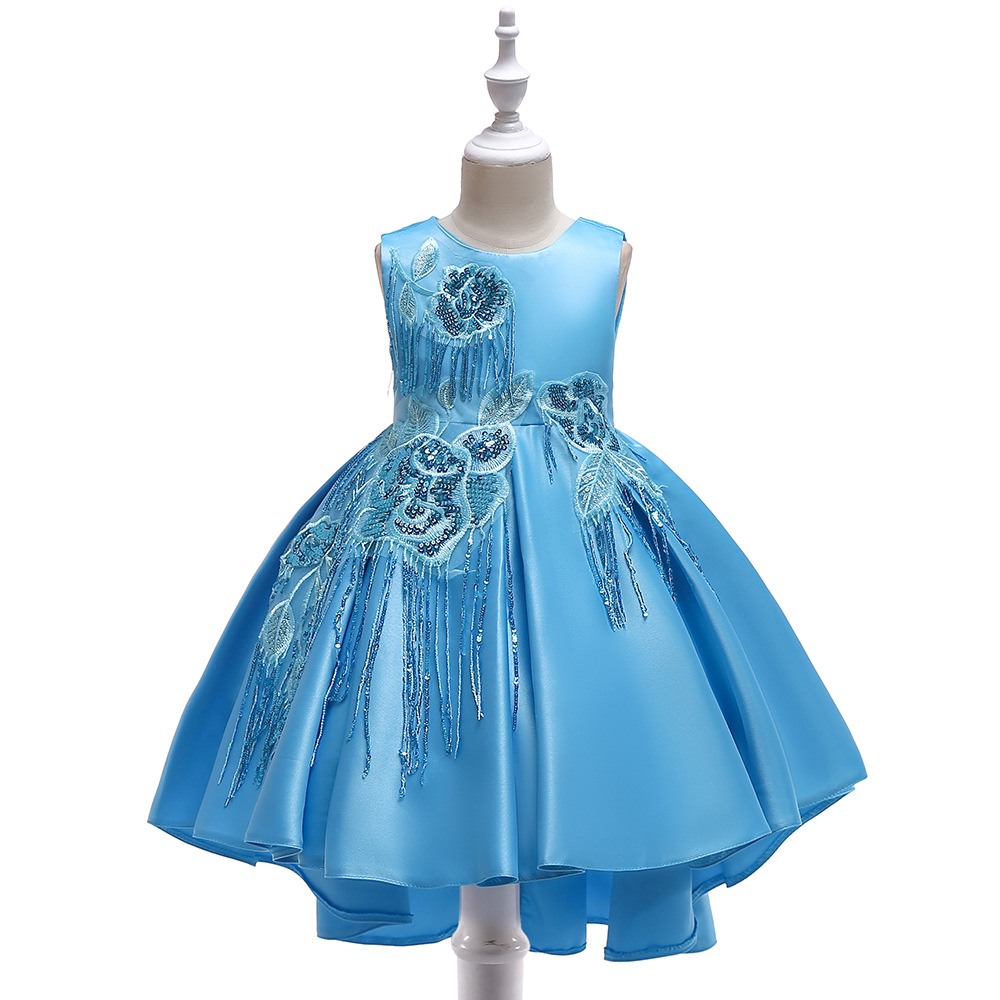 Blue Blue Bow Sashes Pleated Puffy Little   Girl   Ball Gowns Custom Made Flared Sleeves   Flower     Girl     Dress   Communion