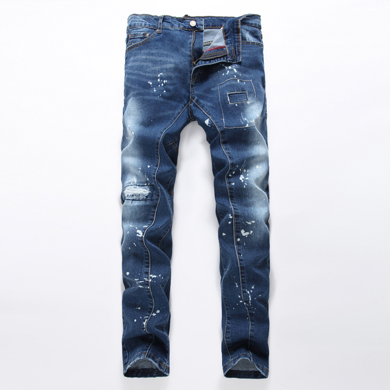 Europe and the United States patch Ink Hole Men Elasticity Slim Street Harlan jeans  цены онлайн