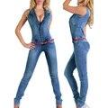 Новое Прибытие 2017 комбинезоны джинсы Европейский стиль Женщины Комбинезон Джинсовые Комбинезоны Рубашка Комбинезон Девушки Брюки Джинсы S-XL Боди 2043