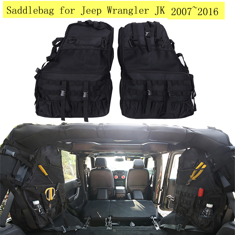 € 110.85 16% de réduction|2 PCSlot Cage à roulettes multi poches organiseurs de rangement sac de transport sacoche 2007 ~ 2016 pour Jeep Wrangler JK