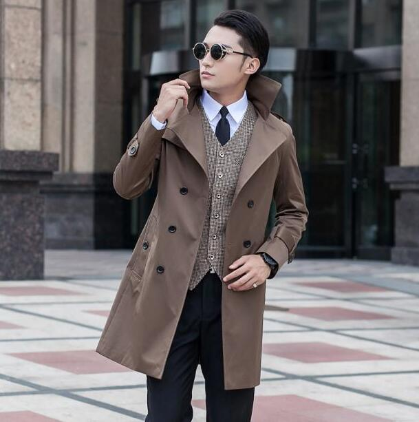 Blue 2019 new arrival autumn slim sexy trench coat men khaki black outerwear mens trench coat clothing belt big size S 9XL