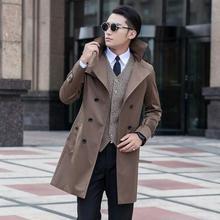 Blue 2020 new arrival autumn slim sexy trench coat men khaki black outerwear men