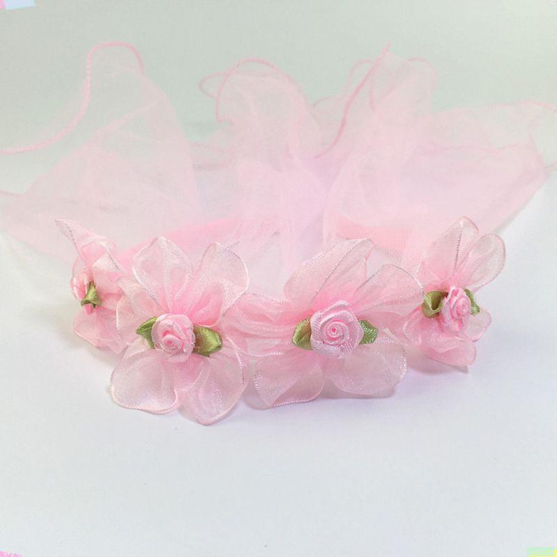 Girls Wedding Agaric Mesh Veil Headband Glitter Powder Trim Artificial Flower Wreath Crown Hair Hoop First Communion Headband in Bridal Headwear from Weddings Events