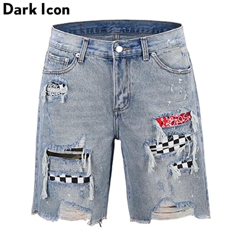 Dark Icon Plaid Patch Ripped Denim Shorts Men High Street Fashion Men's Shorts 2019 Summer