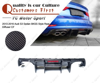 Car Accessories Carbon Fiber BKSS Style Rear Diffuser with Light Fit For 2013-2016 S3 Sedan Rear Bumper Diffuser Lip