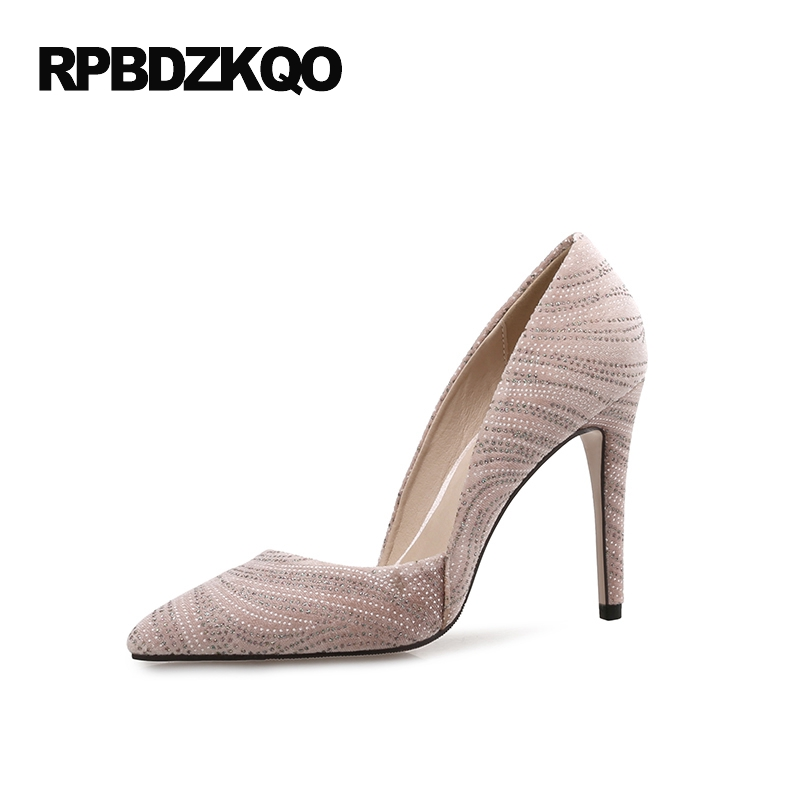 33 12 44 Pumps Wine Red Women Shoes Evening Plus Size Pointed Toe Scarpin Special Rhinestone 2017 Pink Crystal High Heels настенное бра crystal lux clt 011 clt 010w200 wh