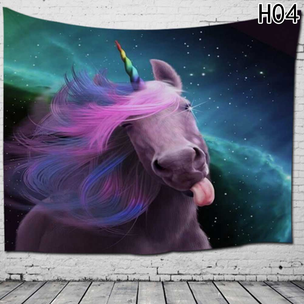 3D Unicorn Fantasy Tapestry Wall Hanging Yoga Mat Sandy Beach Towels Picnic Blanket Throw Rug Wall Carpets Polyester