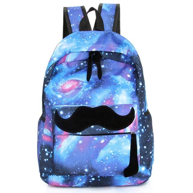 2017 mujeres bigote galaxy estrellas universo espacio de impresión mochila escolar mochila de lona mochilas bolsa mochila a40-327