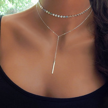 Simple Layered Chain Choker Necklace Gold Silver Tassel Metal Stick Sequins Exquisite Pendant Neck Jewelry