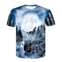 Новая горячая распродажа мужская одежда 3D волк мужская футболка Летняя Повседневная рубашка с принтом плюс размер o-образный вырез короткий рукав модная футболка