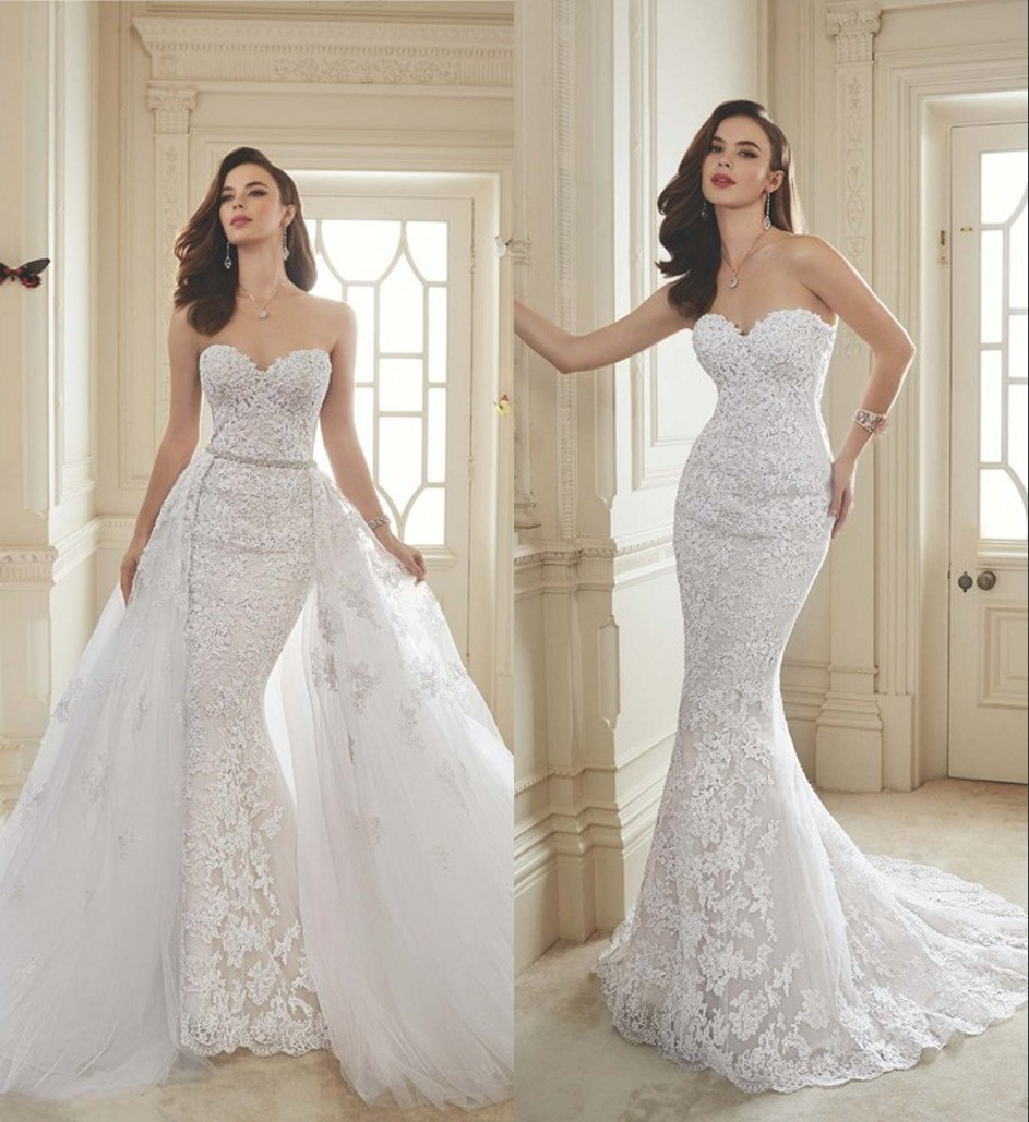 Beaded Wedding Dress With Detachable Train: Sweetheart Lace Appliques Mermaid 2 In 1 Wedding Dresses