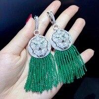 long tassels earring green color 925 sterling silver with cubic zircon lion drop earring vintage fashion women jewelry