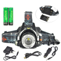 2000LM XML T6 Headlight Zoom LED Headlamp 3 Mode Linternas Frontales Cabeza AAA Lanterna +2*18650 battery + USB Car AC Charger