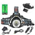 2000LM XML T6 Headlight Zoom LED Headlamp 3 Mode Linternas Frontales Cabeza AAA Lanterna +2*18650 battery + USB Car AC Charger