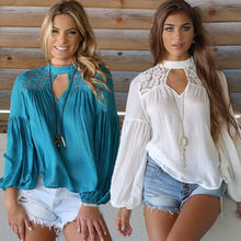 NEW Arrivals Women's Fashion Ladies Loose Long Sleeve Lace Blouses Shirts Solid Crochet Blouses