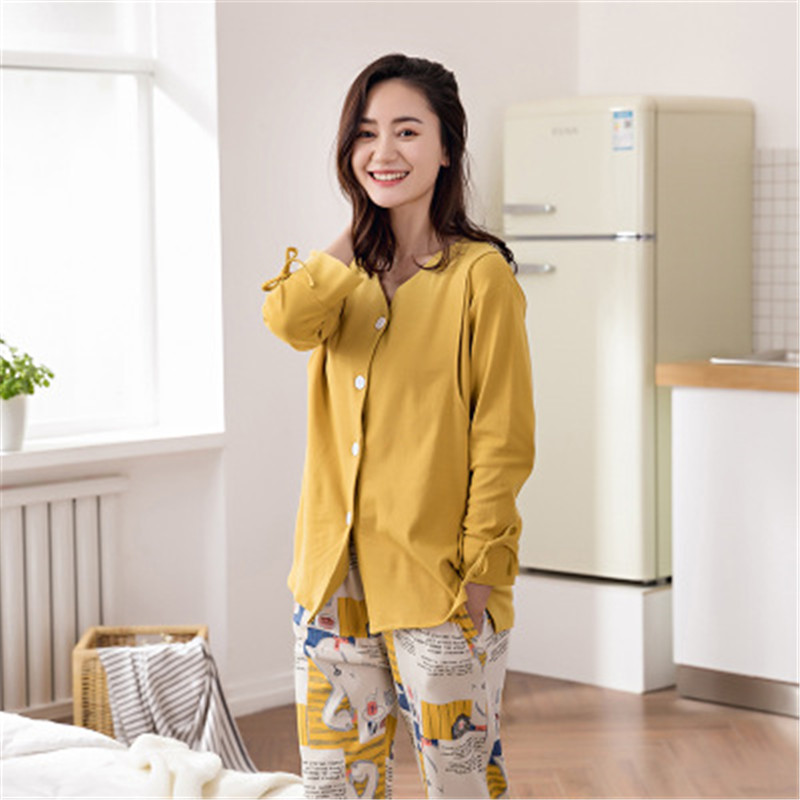 V-Collar Single Breasted Maternity Pajamas Set Full Sleeve Breastfeeding Sleepwear Nursing Pajamas for Pregnant WomenV-Collar Single Breasted Maternity Pajamas Set Full Sleeve Breastfeeding Sleepwear Nursing Pajamas for Pregnant Women