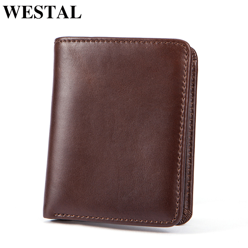 WESTAL Genuine Leather Men Wallets Credit & ID Holder Purse Short Wallet with coin pocket Coin Purse Men's Leather Wallets Men
