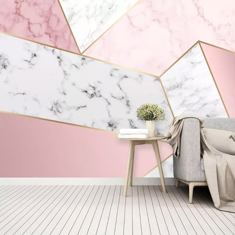 Self-Adhesive Wallpaper Modern Simple Abstract Geometric Marble Pink Photo Wall Murals Living Room Bedroom Waterproof 3D Sticker
