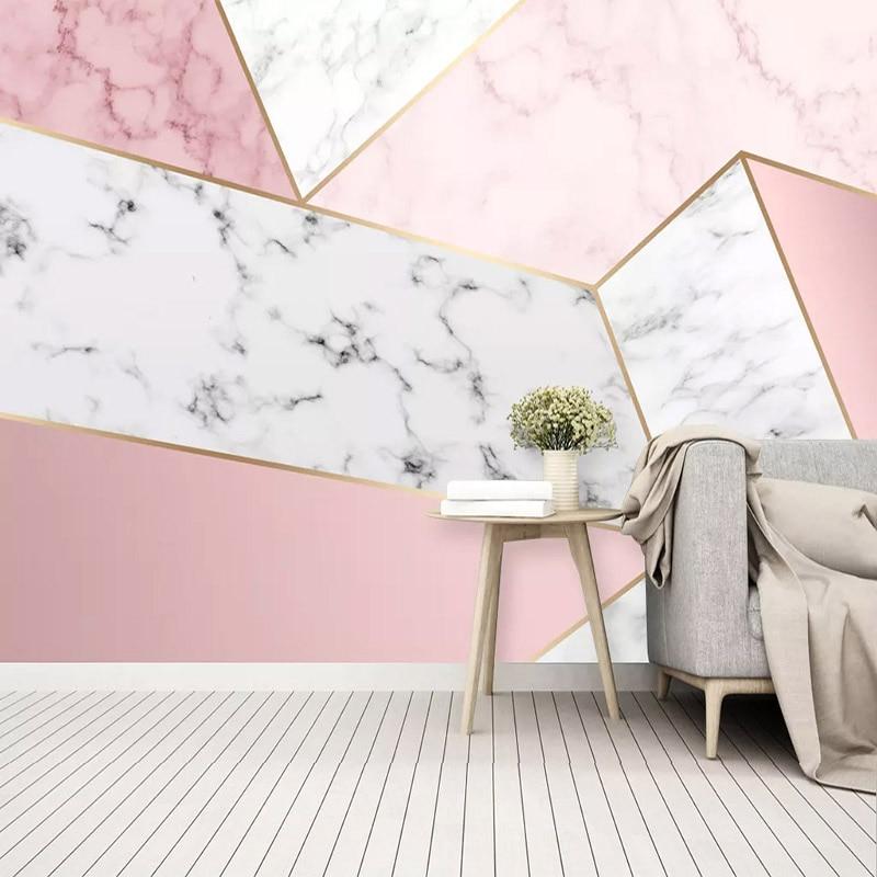 Self-Adhesive Wallpaper Modern Simple Abstract Geometric Marble Pink Photo Wall Murals Living Room Bedroom Waterproof 3D Sticker