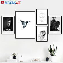 Girl Bird Feather Quotes Wall Art Canvas Painting Nordic Posters And Prints Black White Wall Pictures For Living Room Home Decor girl bird feather quotes wall art canvas painting nordic posters and prints black white wall pictures for living room home decor