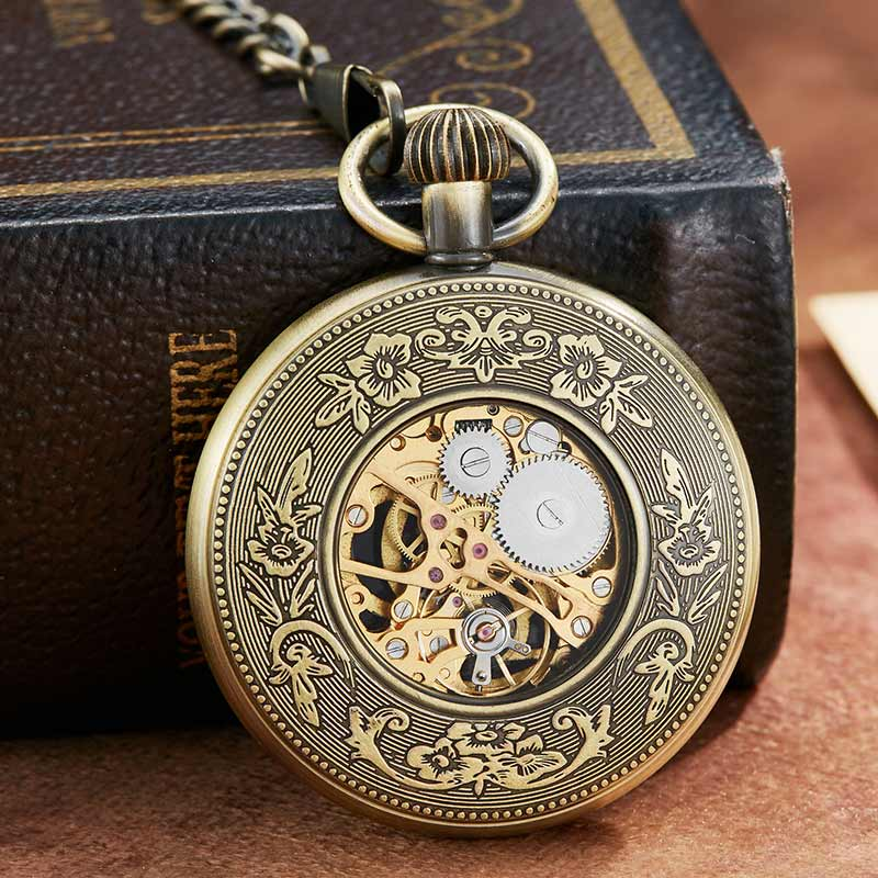 Vintge relógio de bolso mecânico numerais romanos