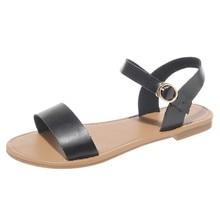 e62d05222 SAGACIDADE Verão Senhoras das Mulheres Roma Plana Sólida Peep Toe Sandálias  Sapato Casual Ao Ar Livre