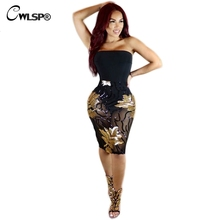 CWLSP Elegant Sequined Patchwork Dresses Women strapless Black Mesh Night Club Wear Dress Femme Evening Party Vestido QZ1936