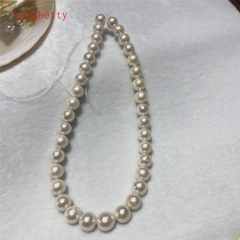 NEW Natural 11 13mm white Baroque Edison Freshwater Cultured Nuclear beads Pearl 16 Loose beads