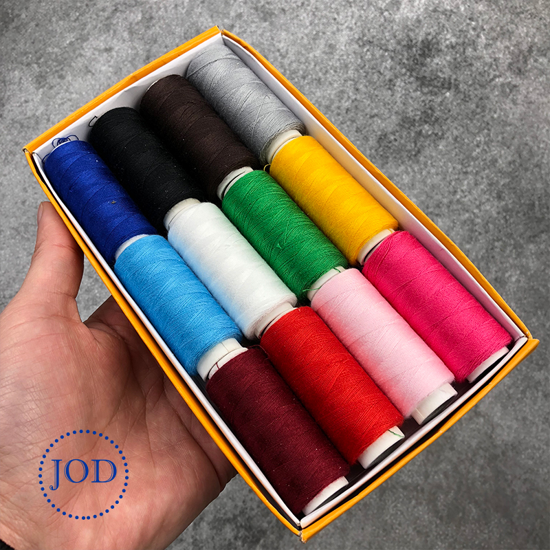 JOD 12PCS Color Polyester Sewing Thread Sewing Machine Line Sewing Thread On Cone Small Spool Of Household Hand Stitching DIY @
