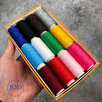 JOD 12PCS Color Polyester Sewing Thread Sewing Machine Line Sewing Thread on Cone Small Spool of Household Hand Stitching DIY @ a spool of blue thread