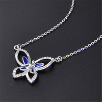 luxury butterfly high polish as a mirror 925 silver necklace, China silver jewelry supplier