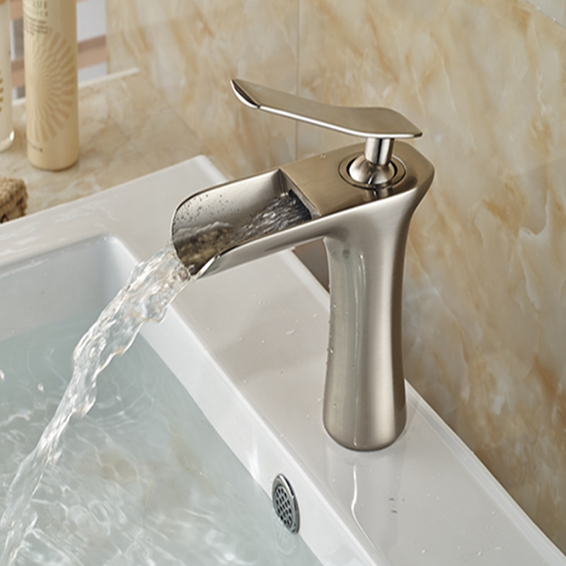 Wholesale And Retail Waterfall Spout Bathroom Faucet Single Handle Hole Vanity Sink Mixer Tap Deck Mounted Brushed Nickel free shipping wholesale and retail wall mounted waterfall spout chrome brass bathroom faucet single handle hot and cold mixer