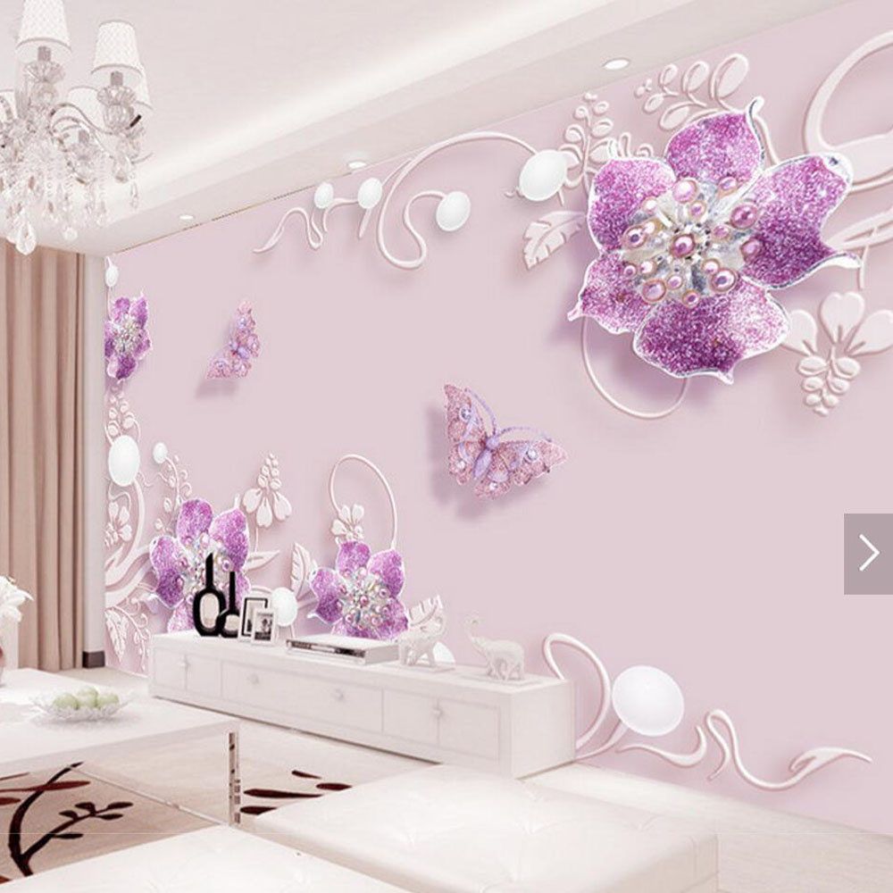 3d wallpaper purple flower butterfly wall mural hd photo for Home 3d wallpaper wallcovering