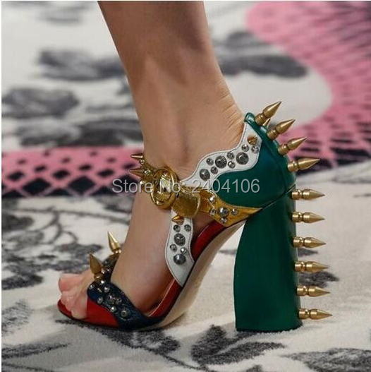 09c4fc0a3ae Shooegle Brand Summer Malin Spike Leather Sandals Women High Heels Rivets  Shoes Woman Chunky Heel Colorblock Sandalias Mujer-in High Heels from Shoes  on ...