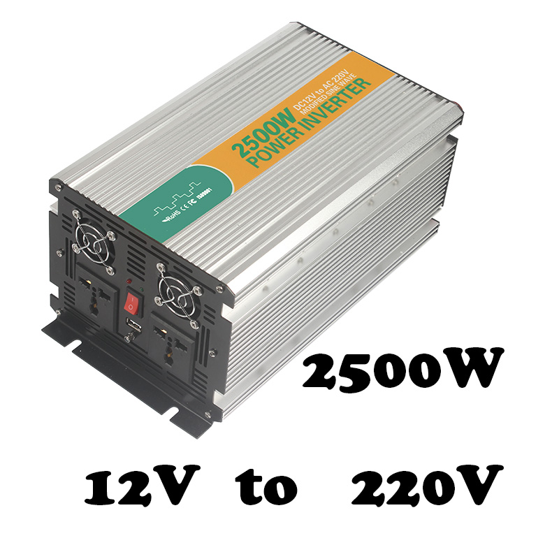2500W off grid dc ac 2500w 12v to 220vac auto power inverter,aims power inverter with usb 5v500ma for home use