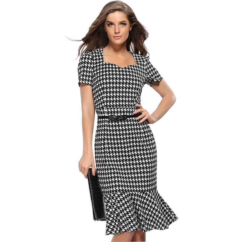 2019 שמלת נשים משבצות בת ים Slim משלוח חגורת Fishtail שמלות AliExpress קצר שרוול v צוואר Vestidos HJY713