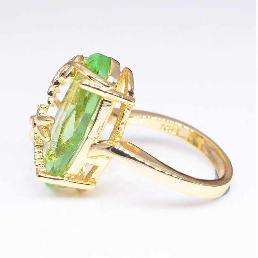2018 ใหม่ Dragonfly ออกแบบงานแต่งงานแหวนโปร่งใส Peridot แหวนหินหรูหราแหวนหมั้นผู้หญิงเครื่องประดับ Bijoux ของขวัญ