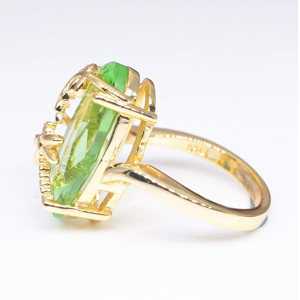 2018 New Dragonfly Design Gold Wedding Ring Transparent Peridot