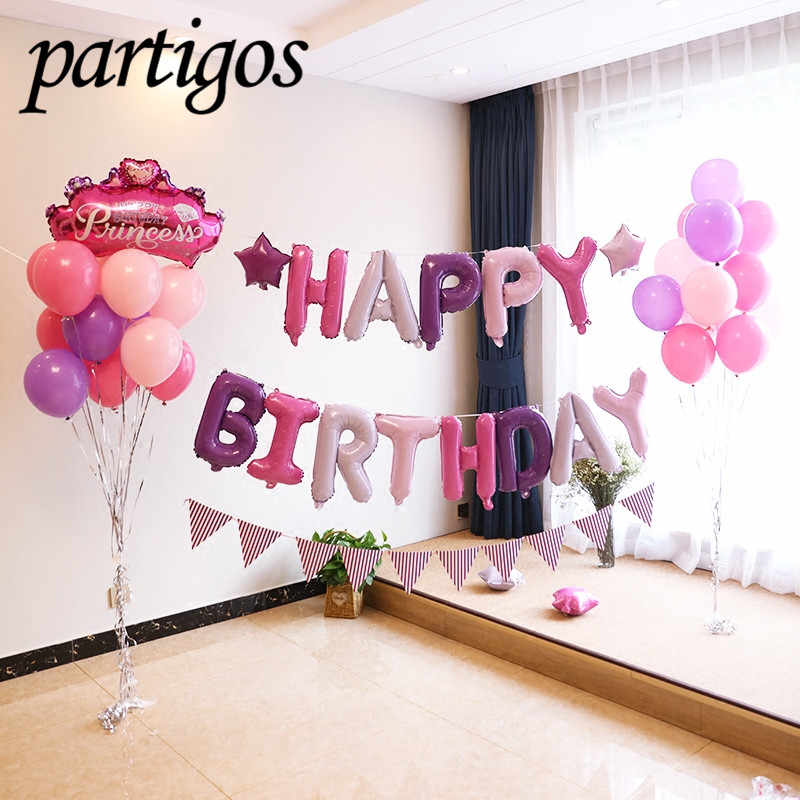 Happy Birthday balloon air Letters Alphabe Rose Gold foil balloons kids toy wedding party birthday helium globos party baloon