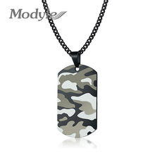 Modyle Cool Camouflage Dog Tag Necklace for Men Stainless Steel Soldier Army Male Pendant Collar Jewelry(China)