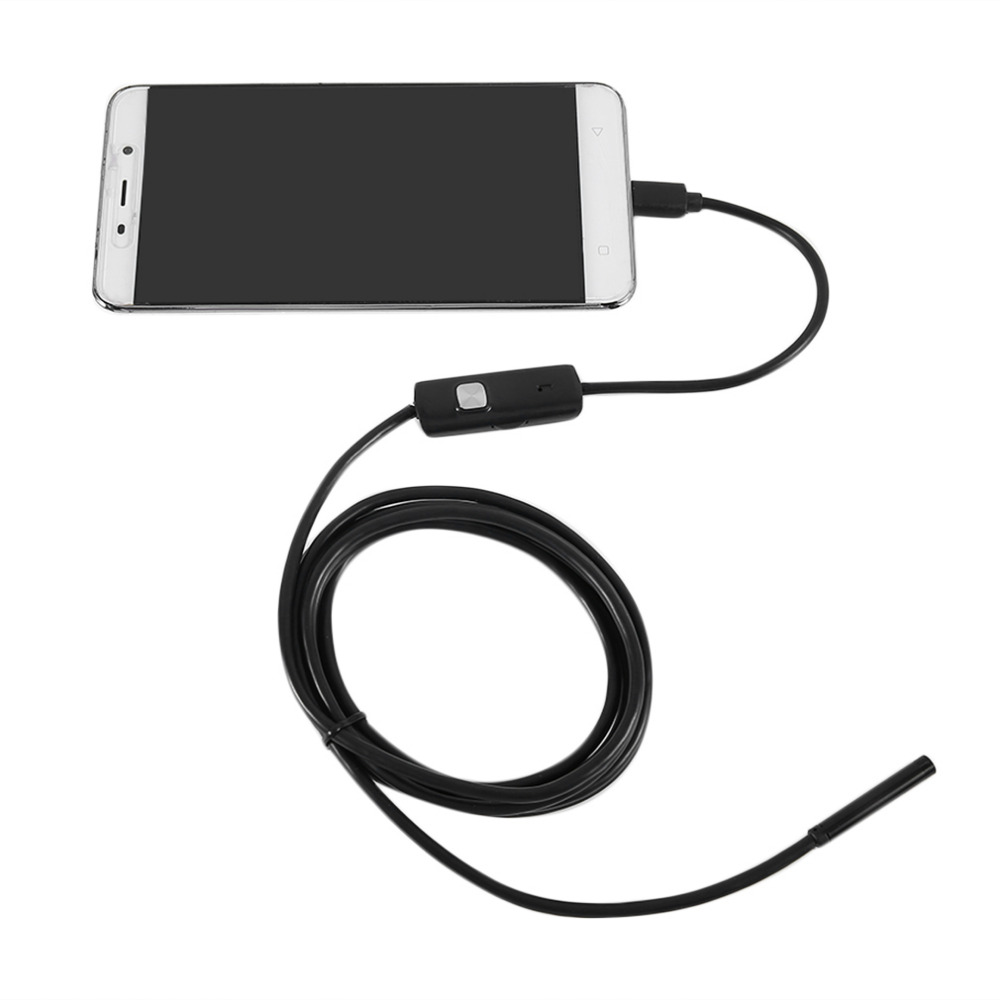 HD Camera Borescope 5.5mm 2M Mini USB Endoscope IP67 Waterproof Inspection Scope 6 White LEDs 720P Tube For PC Android Phone