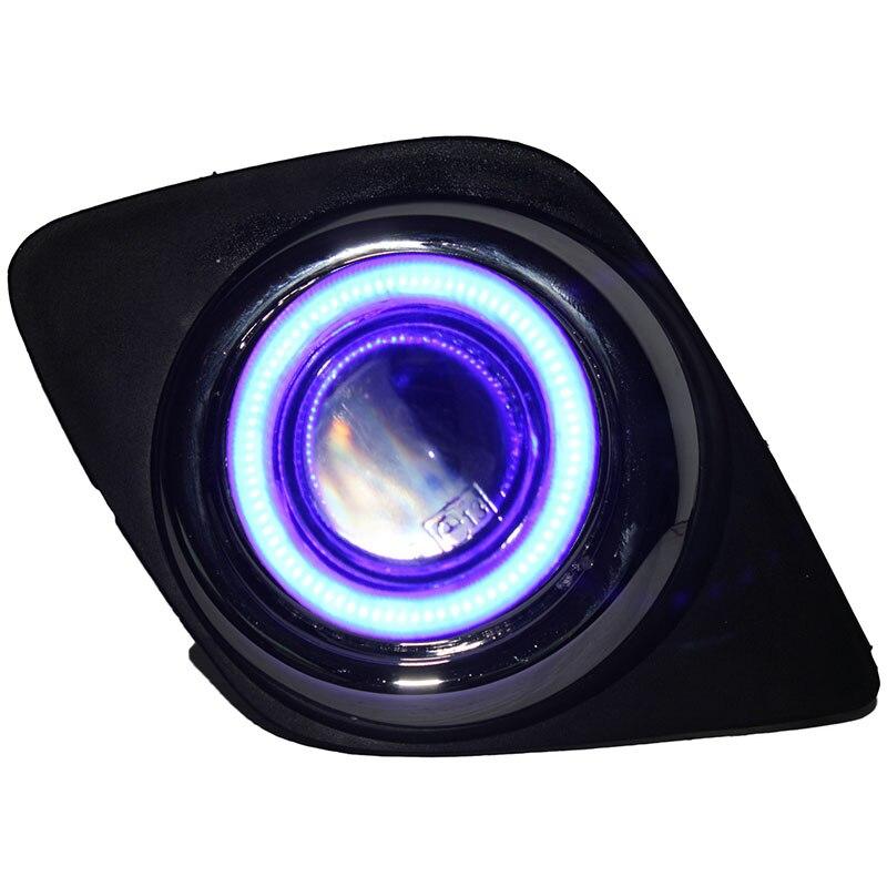 eOsuns инновационные cob ангел глаз светодиодные фары дневного света DRL + галогеновые Противотуманные фары + объектив проектора для Тойота RAV4