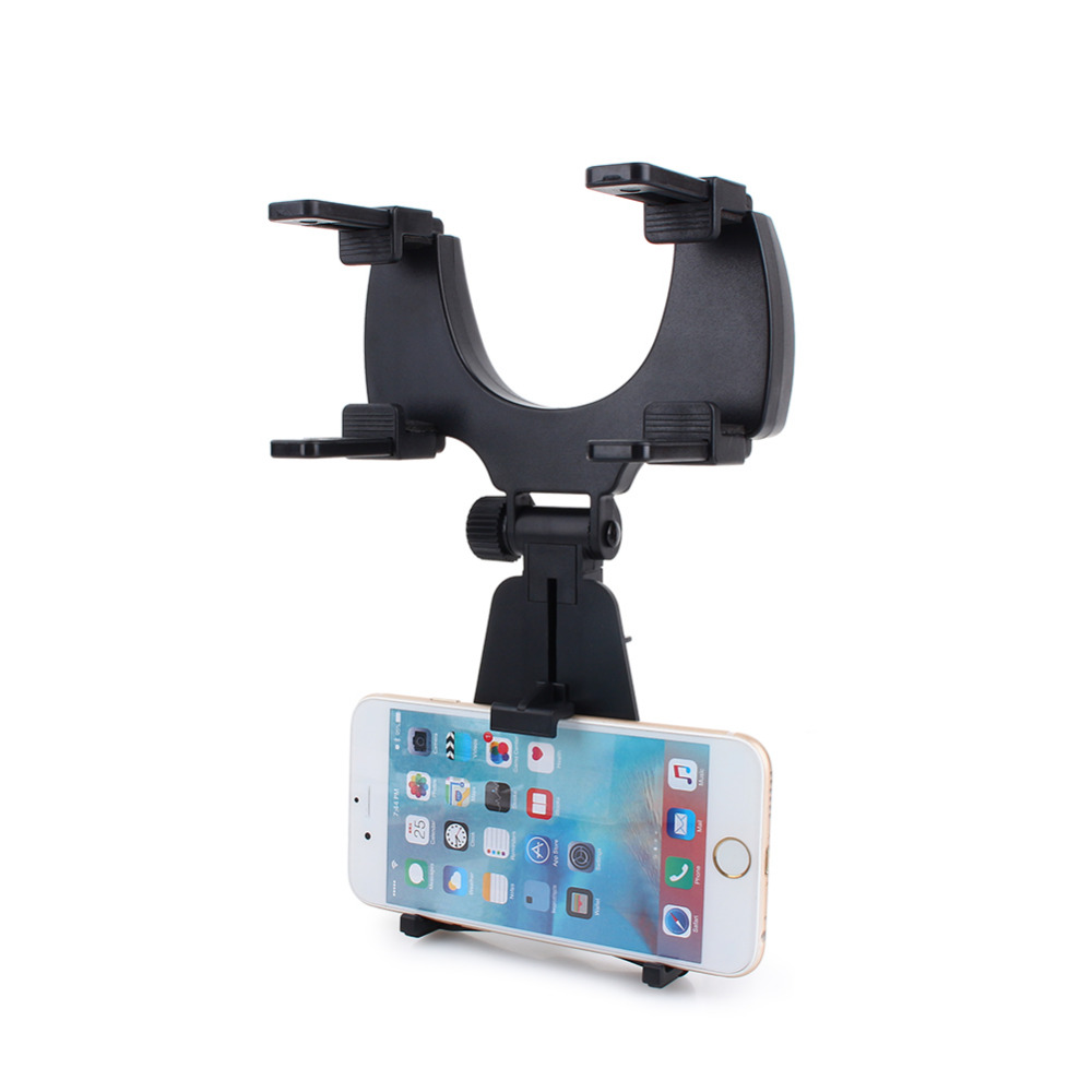 Car rearview mirror mount holder car reviews - Universal Car Mirror Phone Holder Stand Cradle For Mobile Cell Phone Gps Bracket Mount Black White Colors Free Shipping