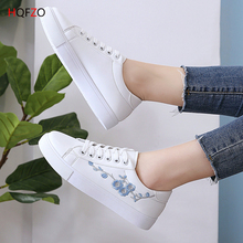 HQFZO 2019 New Vulcanize Flats Sneakers Platform Women Shoes Breathable Embroidery Casual White Lace Up Female Mujer