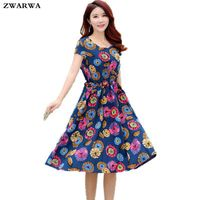 Summer Dress Womens 2017 New Print Floral Dresses O Neck Loose Knee Length Dress Large Size